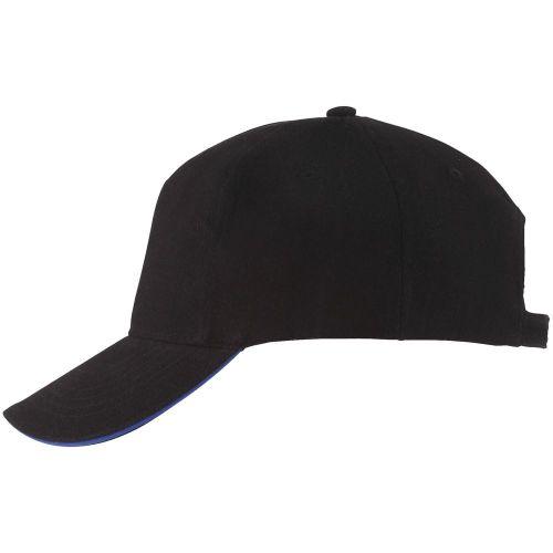 Бейсболка Long Beach, черная с ярко-синим - br-rim